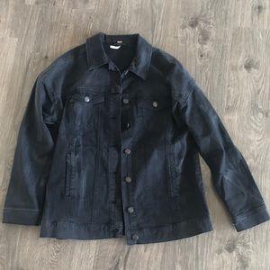Free People Black Oversized Denim Jacket - S